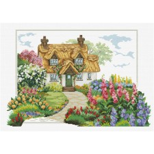 Pre-printed cross stitch kit Foxglove Cottage - Needleart World