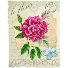 Pre-printed cross stitch kit Rose Bloom - Needleart World