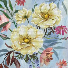 Pre-printed cross stitch kit Wild Rose Bouquet - Needleart World