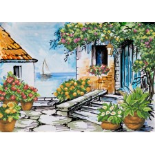 Pre-printed cross stitch kit Seaside Paradise - Needleart World
