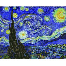 Pre-printed cross stitch kit Starry Night (apres Van Gogh) - Needleart World