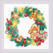 Cross stitch kit Gingerbread Wreath - RIOLIS