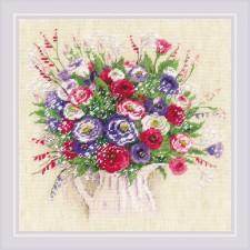 Cross stitch kit Bouquet with Eustoma and Gypsophila - RIOLIS