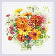 Diamond Mosaic Watercolor Gerberas - RIOLIS
