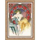 Cross stitch kit Girl with Easel after A. Mucha's Artwork