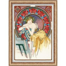 Cross stitch kit Girl with Easel after A. Mucha's Artwork - RIOLIS