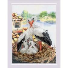 Cross stitch kit Stork Family - RIOLIS