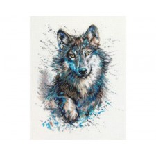 Cross stitch kit Snow Splashes - Wolf - RTO