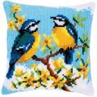 Cross stitch cushion kit Blue tits