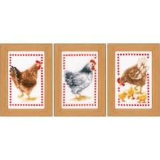 Miniature kit Chickens set of 3