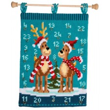Cross stitch wall hanging kit Elk with scarves