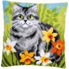 Cross stitch cushion kit Cat between flowers