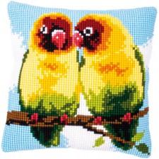 Cross stitch cushion kit Lovebirds