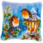 Latch hook cushion kit Robins with Christmas
