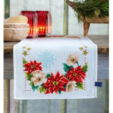 Aida table runner kit Christmas flowers