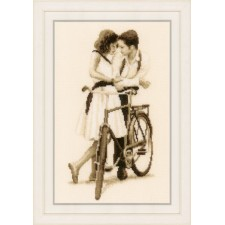 Counted cross stitch kit Couple with bicycle