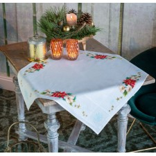 Aida tablecloth kit Christmas flowers
