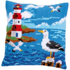 Cross stitch cushion kit Lighthouse and seagulls