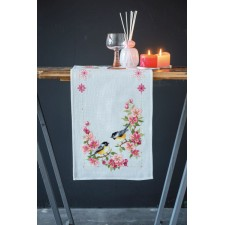 Aida table runner kit Birds and blossoms