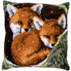 Cross stitch cushion kit Foxes
