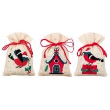 Bag kit Christmas bird and house set of 3