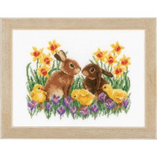 Counted cross stitch kit Bunnies with chicks