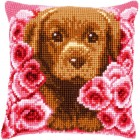 Cross stitch cushion kit Puppy between roses
