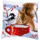 Cross stitch cushion kit Squirrel and tit