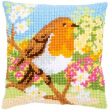 Cross stitch cushion kit Robin in the garden