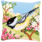 Cross stitch cushion kit Bird in the garden