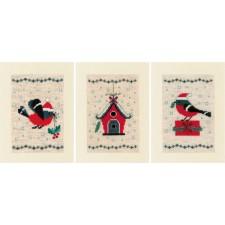 Greeting card kit Christmas bird and house set of3