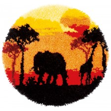 Latch hook shaped rug kit African sunset