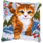 Cross stitch cushion kit Cat in the snow