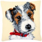 Cross stitch cushion kit Dog with red collar