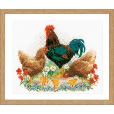 Counted cross stitch kit Rooster and chickens