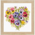 Counted cross stitch kit Pansies in heart shape
