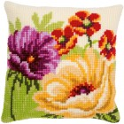 Cross stitch cushion kit Summer flowers