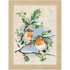 Counted cross stitch kit Winter robins