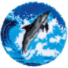 Latch hook shaped rug kit Dolphin