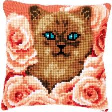 Cross stitch cushion kit Kitten between roses