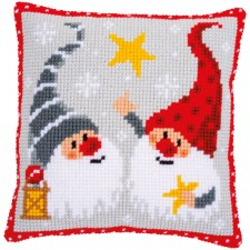 Cross stitch cushion kit Christmas gnomes