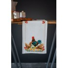 Aida table runner kit Rooster and chickens