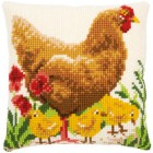 Cross stitch cushion kit Chicken with chicks