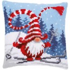 Cross stitch cushion kit Christmas gnome skiing
