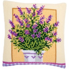 Cross stitch cushion kit Lavender in pot