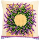 Cross stitch cushion kit Lavender wreath