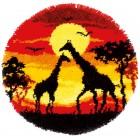 Latch hook shaped rug kit Giraffes in the sunset