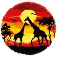 Latch hook shaped rug kit Giraffes in the sunset