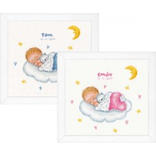 Counted cross stitch kit Sleeping baby on cloud