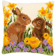 Cross stitch cushion kit Rabbits with chicks
